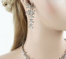 61mm Rhodium Silver Plated Clear Crystal Star Flower Cluster Dangle Earrings