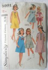VINTAGE 1960'S SIMPLICITY SEWING PATTERN 5991 GIRLS DRESS VARIATIONS 10 28 INCH