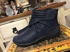 CLARKS CLOUD STEPPERS Blue LOAFERS ANKLE BOOTS SHOES ZIP SIDE US WOMENS 8.5 M