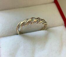 9ct Yellow Gold Diamond Twist Eternity Ring Size L UK Hallmarked