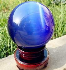 80MM + STAND Hot SEll ASIAN QUARTZ BLUE CAT EYE CRYSTAL BALL SPHERE