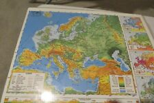 """Nystrom Laminated 2 Sided Map of Europe & Asia 22"""" X 17"""" Homeschool or Decor"""