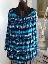Michael Kors Torino Tie-Dye Ocean Blues Beach Cruise Cover Up Gorgeous NWT $172