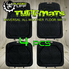 NEW 4 PCS RUGGED TUFF WATER PROOF FLOOR MATS BLACK HEAVY DUTY ALL WEATHER RUBBER