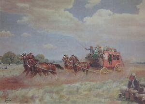 Allan T. Bernaldo, Stage Coach, Pioneering Days of Australia, Rare  Art Print.