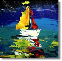 Abstrakte Kunst Moderne Malerei Unikat Schiff Yacht Gemälde Meer Wandbild Nr1037