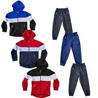 Boys Kids Tracksuit Jacket Panel Contrast Joggers Jogging Bottoms Sport PE Set