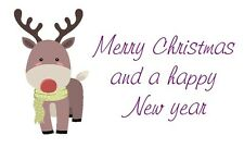 42 Large Personalised Labels / Address /xmas Cute Reindeer (Stickers) no 265
