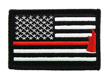 Firefighter Axe US Flag Thin Red Line Hook & Loop Morale Tags Patch American