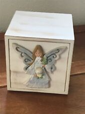 Angel Accents by Roman Inc. Small White Washed Painted Wood Drawer with Angel Fr