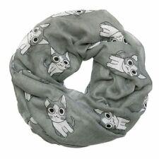 Loop-schal mit Katzenmotiv / Rundschal in hellgrau Katzen Tiere Tuch Loop Schal