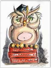 Clausewitz: Original Pen and Watercolour: Books Owl Marx the capital/24x32 cm