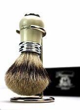 New Shaving Brush Sliver Tip Badger Hair For Men's With Stainless Steel Stand