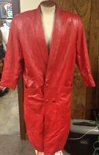 vintage WILSONS SUEDE & LEATHER BRIGHT RED TRENCH COAT (FULL LENGTH) WOMEN'S L