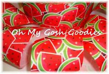 "3"" JUICY WILD WATERMELON RED SLICES SEEDS GROSGRAIN RIBBON FOR BOW HAIRBOW"