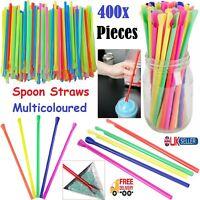 400Pcs Spoon Straws For Smoothies Milkshake Slush Juice Straw Party Supplies New