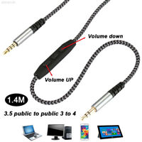 D531 Male To Male with Mic Braided Line Durable 3.5mm Port Headset Earphone