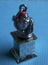 chimney Christmas sterling charm Vintage enamel Santa Claus in