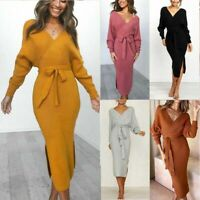 Sweater Long Sleeve Party V Neck Pencil Women Bodycon Knitted Ladies Dress