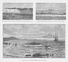 SANGATTE Landing of the Anglo French Telephone Cable - Antique Print 1891