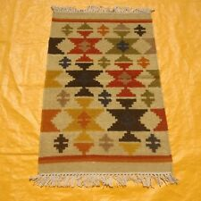 Fine Antique Hand Made Turkish Faded Cream Red 100% Wool Kilim Dhurrie Rug 2x3ft