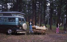 KODACHROME 35mm Slide Dodge Camper Van Women Picnic Table Campground 1972 L@@K!