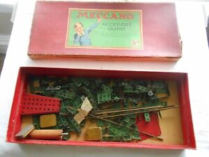 VINTAGE MECCANO SET (8a)-ORIGINAL  WELL USED BOX W/PARTS SOLD AS SEEN
