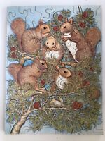 Vintage Hand Cut 1978 Wooden Jigsaw Puzzle Squirrels In A Tree -  Tosswood