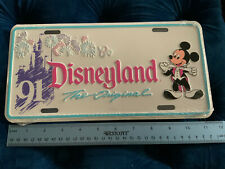 "Disneyland ""The Original"" 1991 Mickey Mouse Metal License Plate New Sealed"