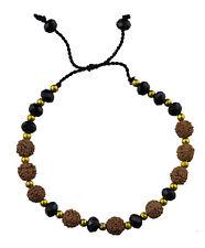 Bracelet  graines de Rudraksha et perles de verre noires onyx Ø 6mm - 25230