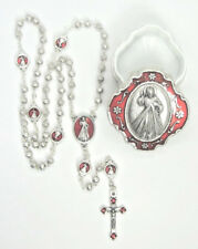 "Petite Divine Mercy Rosary Red Enamel Accents 15""  w/ Two-Tone Case  Italy"