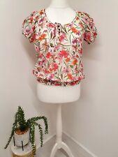 M&S Woman Blouse Top Size 10 Cotton & Silk Floral