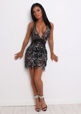 Womens tassel black sparkly sequins bodycon mini party dress size small 8-10