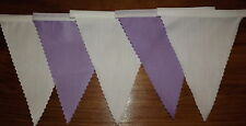 Quality Fabric Bunting Lilac & White Wedding Party Decoration 2 mt or more