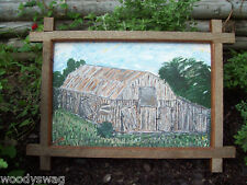 Barn signed Painting Primitive Country Barnwood Vintage Americana Original