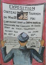 """""""EXPO ARTISANAT d'ART TOURNON 1961""""Maquette gouache s/papier originale signée JG"""