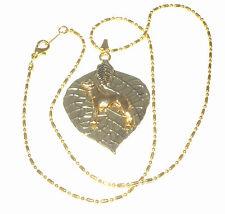 New ListingGp Leaf Pendant w Gp Standing Greyhound/ Whippet Dog, Dot Dash Necklace