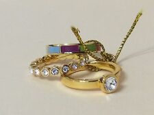 New with Tags - Coach Stackable Gold Swarovski Crystal Enamel Ring Set Size 5.5