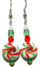 GLASS PEPPERMINT CANDY RED GREEN & WHITE CHRISTMAS DANGLE EARRINGS (H009)