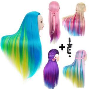 "27"" Human Hair Training Head Salon Hairdressing Practice Mannequin Doll & Clamp"
