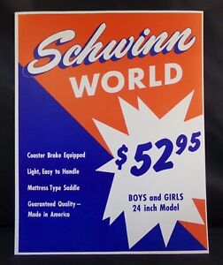 "** SCHWINN STORE DISPLAY SIGN ORIGINAL WORLD BIKE 14"" x 10¾"" **"
