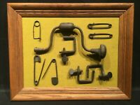 Vtg Store Tool Display Primitive Cast Iron Hand Crank Drill Clamps Pins Man Cave