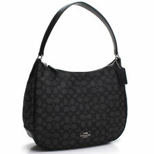 NWT Coach F29959 Signature Jacquard Zip Shoulder Bag Hobo Purse Black Leather