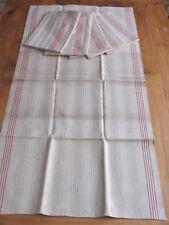 6 Alte Grobe Leinen Handtücher Küchentücher gestreift rote Streifen Initialen EW