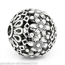 "5PCs Hollow Flower Spacer Beads Round Silver Tone 17mm Dia.( 5/8"") GW"