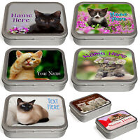Personalised Cat Tobacco Tin 2oz Baccy Pill Storage Cigarette Birthday Kitten