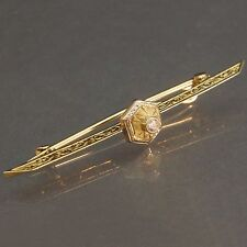 & O.M.C. Diamond, Stick Pin Estate Brooch Antique c. 1900, Solid 14K Yellow Gold