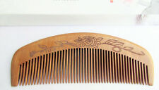 QIAOYATOU T17-3 Flowers Carve Pattern Fine Toothed Old Peach Wood Unisex Comb