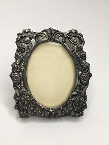 "Lovely Vintage Miniature 3"" x 2.5"" Flower Floral Ornate Metal Picture Frame 🖤 P"