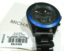 Michael Kors Theroux Chronograph Black Stainless Men's Watch MK8759 NWT $275
